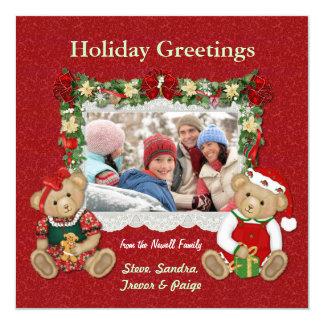 Teddy Bear Christmas Photo Card 13 Cm X 13 Cm Square Invitation Card