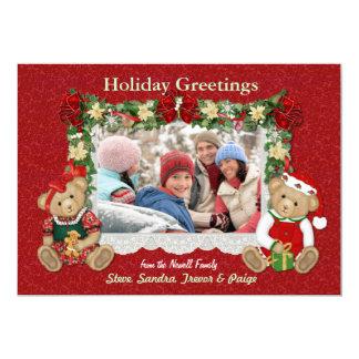 Teddy Bear Christmas Photo Card 13 Cm X 18 Cm Invitation Card