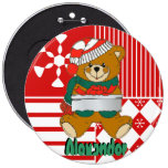 Teddy Bear Christmas Stocking Name Tag Buttons