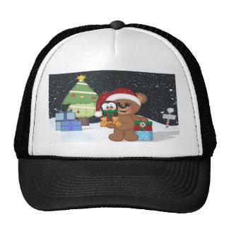 Teddy Bear, Christmas Tree, Cute Snow Scene Cap
