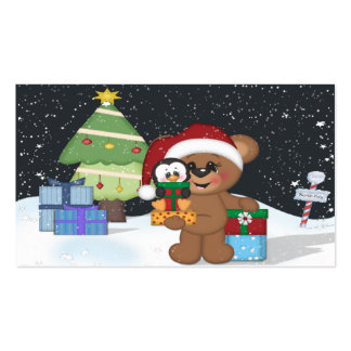 Teddy Bear, Christmas Tree, Cute Snow Scene Pack Of Standard Business Cards