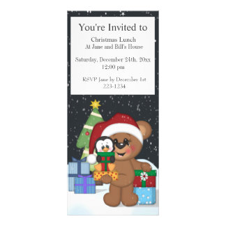 Teddy Bear, Christmas Tree, Cute Snow Scene Rack Cards