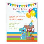 Teddy Bear Clown First Birthday Party Custom Invitations