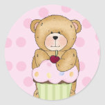 Teddy Bear Cupcake Party Round Stickers