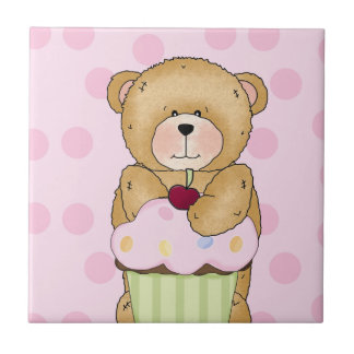 Teddy Bear Cupcake Party Tile