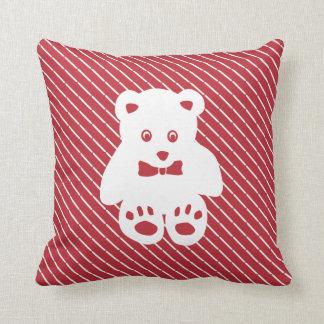 Teddy Bear Cutout on Red Cushion
