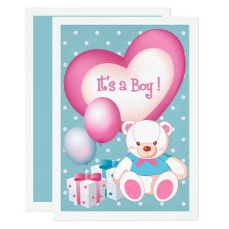 Teddy Bear Design Baby Boy Birth Announcements
