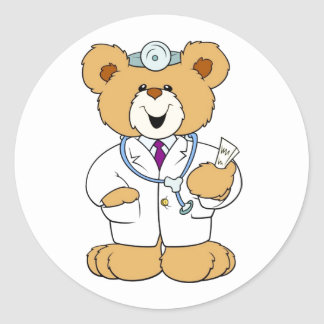 Teddy Bear Doctor Classic Round Sticker