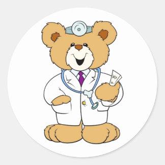 Teddy Bear Doctor Round Sticker