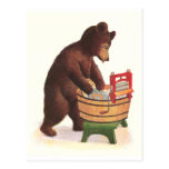 Teddy Bear Does the Laundry Postcard