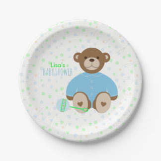 Teddy Bear Dressed in Blue Baby Shower Paper Plate