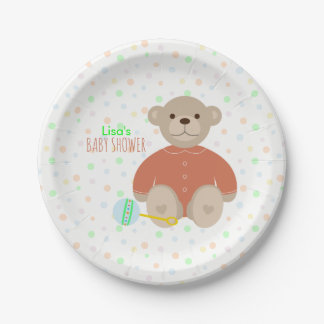 Teddy Bear Dressed in Coral Baby Shower Paper Plate