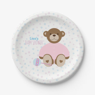 Teddy Bear Dressed in Pink Baby Shower Paper Plate