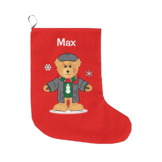 Teddy Bear Dressed up for the Holidays! Large Christmas Stocking