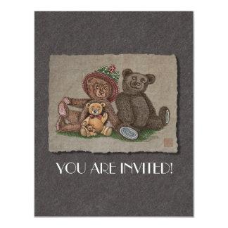 Teddy Bear Family 11 Cm X 14 Cm Invitation Card