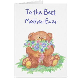 Teddy Bear Flower Scripture Christian Mother's Day Greeting Card