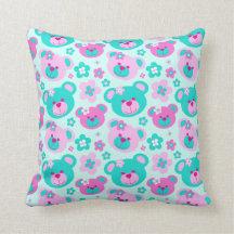 Teddy bear flowers pink aqua girls cushion pillow