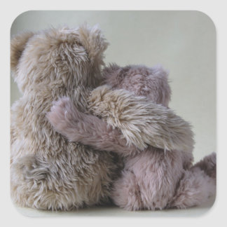 teddy bear friends square stickers