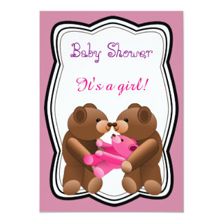 Teddy Bear Girl Baby Shower Card