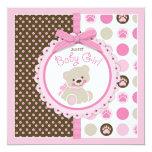 Teddy Bear Girl Baby Shower Pink 13 Cm X 13 Cm Square Invitation Card