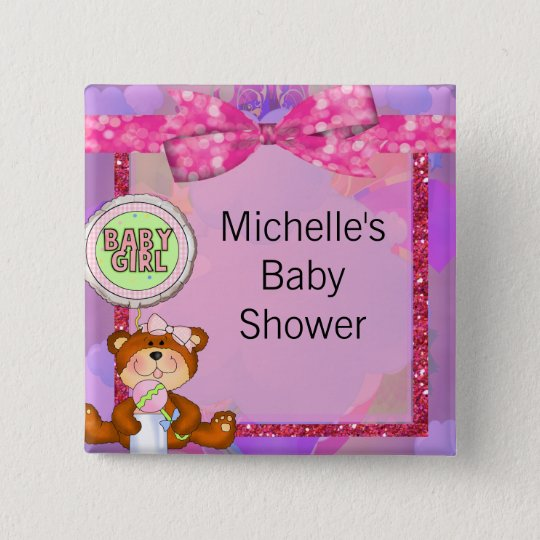 Teddy Bear Girl Glitter Sparkle Baby Shower 15 Cm Square Badge