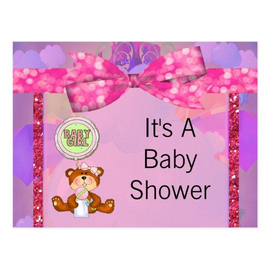 Teddy Bear Girl Glitter Sparkle Baby Shower Postcard