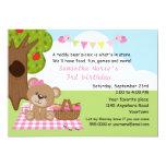 Teddy Bear Girl's Picnic Birthday 13 Cm X 18 Cm Invitation Card