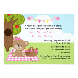 Teddy Bear Girl's Picnic Birthday 13 Cm X 18 Cm Invitation Card