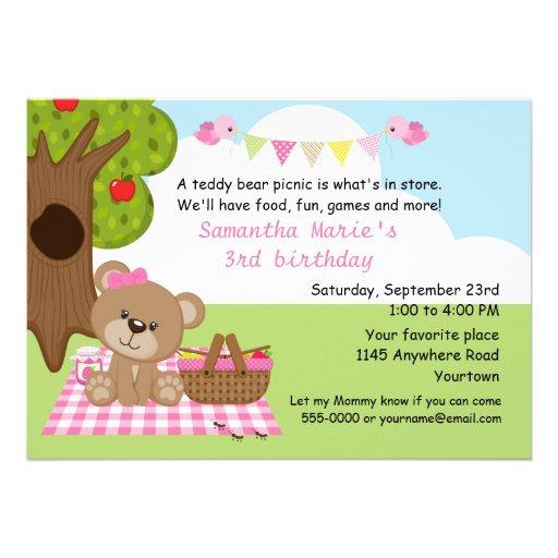 Teddy Bear Girl's Picnic Birthday Personalized Invitation
