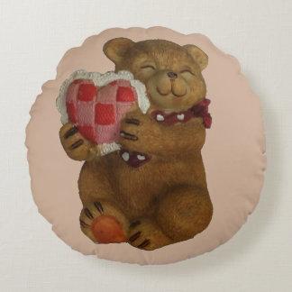 Teddy Bear Gives You It's Heart Round Cushion