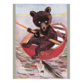 Teddy Bear Goes Fishing Postcard