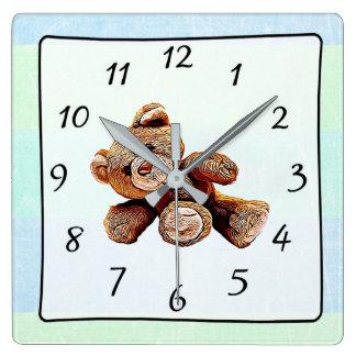 Teddy Bear Green and Blue Baby's Nursery Clock