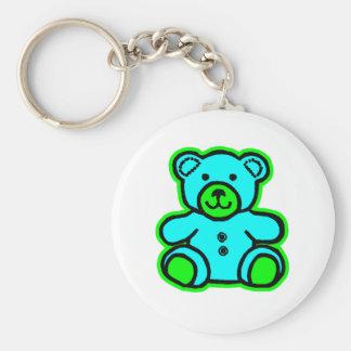 Teddy Bear Green Cyan The MUSEUM Zazzle Gifts Keychain