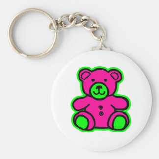 Teddy Bear Green Magenta The MUSEUM Zazzle Gifts Keychains