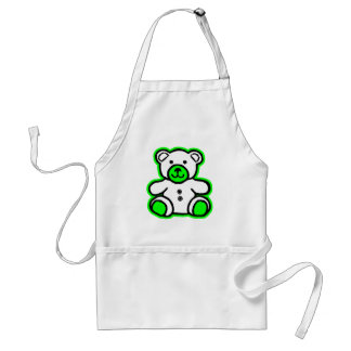 Teddy Bear Green White The MUSEUM Zazzle Gifts Standard Apron