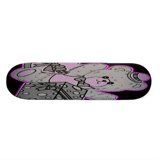 Teddy Bear Grey Pink on Black Skate Board Decks