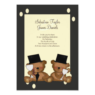 Teddy Bear Grooms Wedding 11 Cm X 16 Cm Invitation Card
