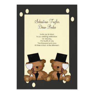 Teddy Bear Grooms Wedding 13 Cm X 18 Cm Invitation Card