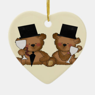 Teddy Bear Grooms Wedding Christmas Ornament