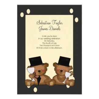 Teddy Bear Grooms Wedding Custom Invite