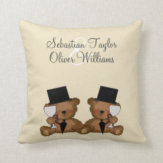 Teddy Bear Grooms Wedding Throw Pillow