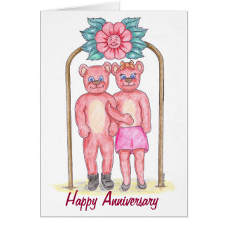 Teddy Bear Happy Anniversary Card