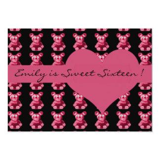 Teddy bear heart pink sweet sixteen cute pattern 5x7 paper invitation card