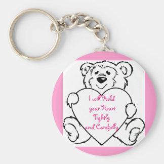 Teddy Bear Hearts Basic Round Button Key Ring