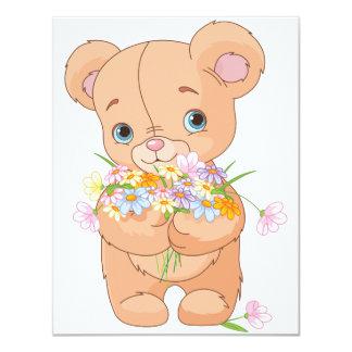 Teddy Bear Holding A Bouquet Invitations