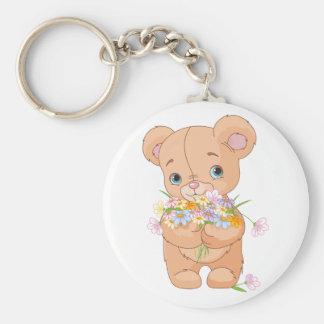 Teddy Bear Holding A Bouquet Keychain