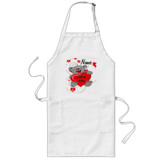 Teddy bear holding a heart long apron
