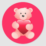 Teddy Bear Holding a Heart Stickers