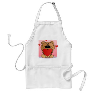 Teddy Bear Holding A Red Heart Aprons