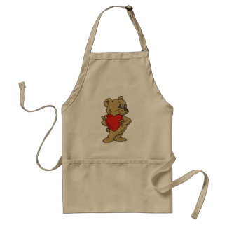 Teddy Bear Holding A Red Heart Apron